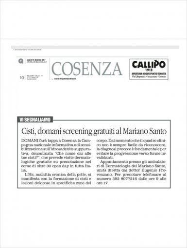 Cisti, domani screening gratuiti al Mariano Santo