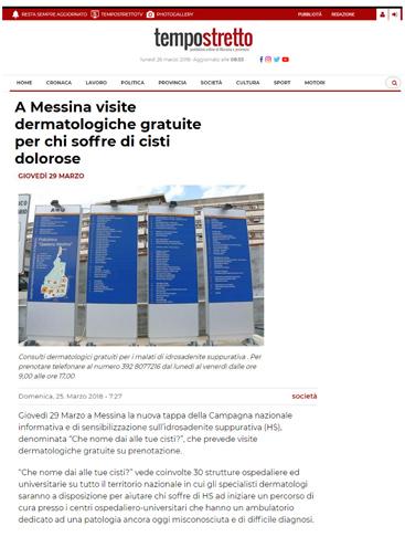 A Messina visite dermatologiche gratuite per chi soffre di cisti dolorose