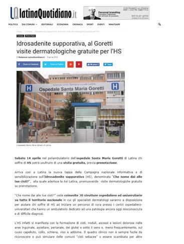 Idrosadenite suppurativa, al Goretti visite dermatologiche gratuite per l'HS