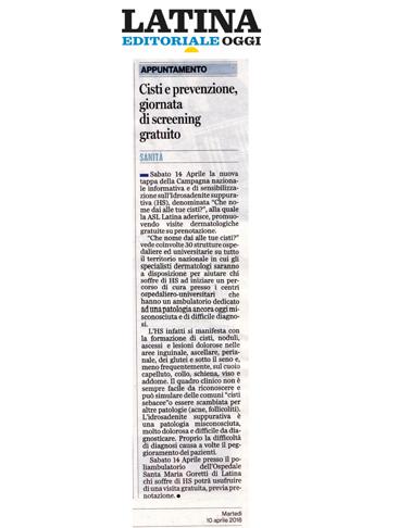 Cisti e prevenzione, giornata di screening gratuito