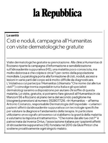 Cisti e noduli, campagna all'Humanitas con visite dermatologiche gratuite