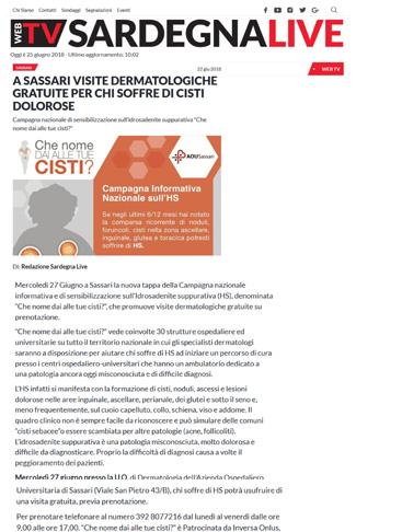 A Sassari visite dermatologiche gratuite per chi soffre di cisti dolorose
