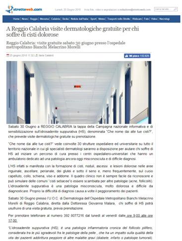 A Reggio Calabria visite dermatologiche gratuite per chi soffre di cisti dolorose