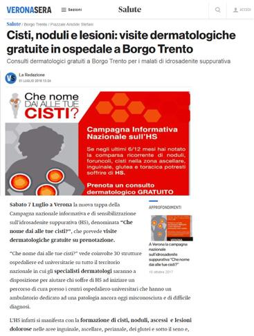 Cisti, noduli e lesioni: visite dermatologiche gratuite in ospedale a Borgo Trento