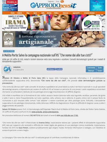 A Melito Porto Salvo la campagna nazionale sull'HS 'Che nome dai alle tue cisti?'