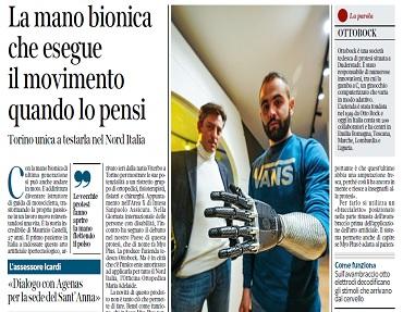 Una mano bionica in grado di misurare i segnali in arrivo dal cervello